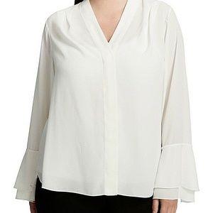 CALVIN KLEIN New 1X Ivory White Chiffon Tie-Sleeve